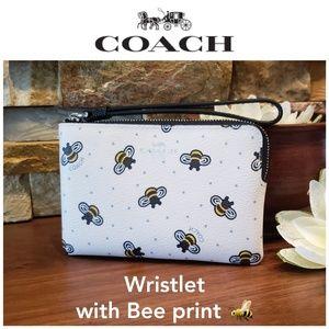 NEW Coach Bumble Bee Wristlet w/ gift box